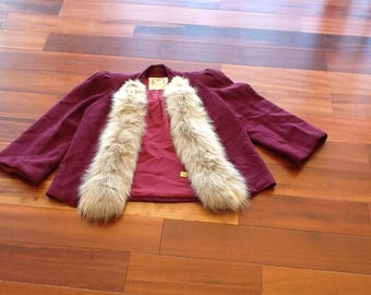 1970's Burgundy ROTHMOOR Fur Trimmed Jacket