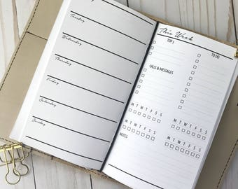 Traveler's Notebook | Week On 1 Page With Lists Planner Inserts | TN Planner Insert | WO1P