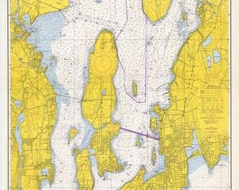 1966 Nautical Map of Newport Harbor Narragansett Bay Rhode Island