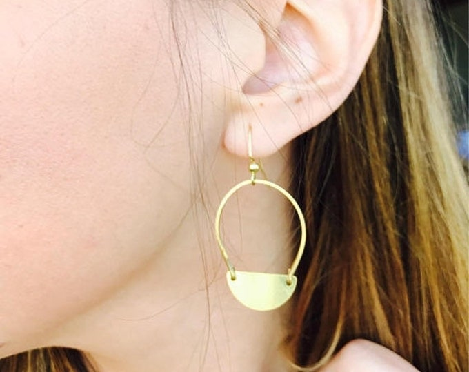 CLEARANCE SALE Hammered Half Moon Gold Brass Hoops