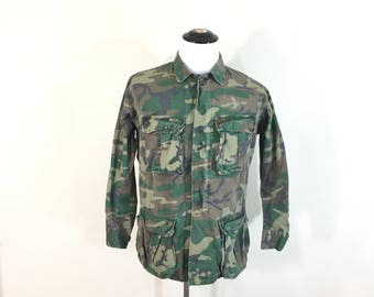 60's vintage vietmam war camouflage fatigue jacket small regular