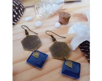 ▲ ▲ geometric earrings GIGIE bronze Hexagon & Blue Diamond midnight - navy!