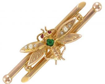 Brooch vintage insect Bestaire 18K Yellow Gold