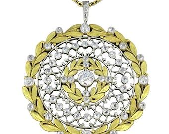 Pendant rose 18K yellow gold diamonds Platinum rim