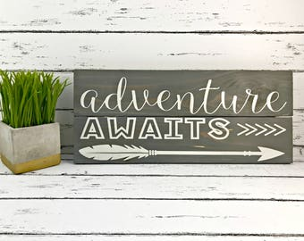 Adventure Awaits - Adventure Awaits Sign - Adventure Sign - Woodland Nursery - Nursery Decor - Arrow Decor - Wood Sign