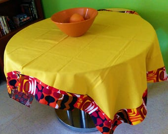 70s Vintage Tablecloth Mid Century 1970s Op Art Linen Table covering MCM Rectangle Yellow Black Brown White Wine
