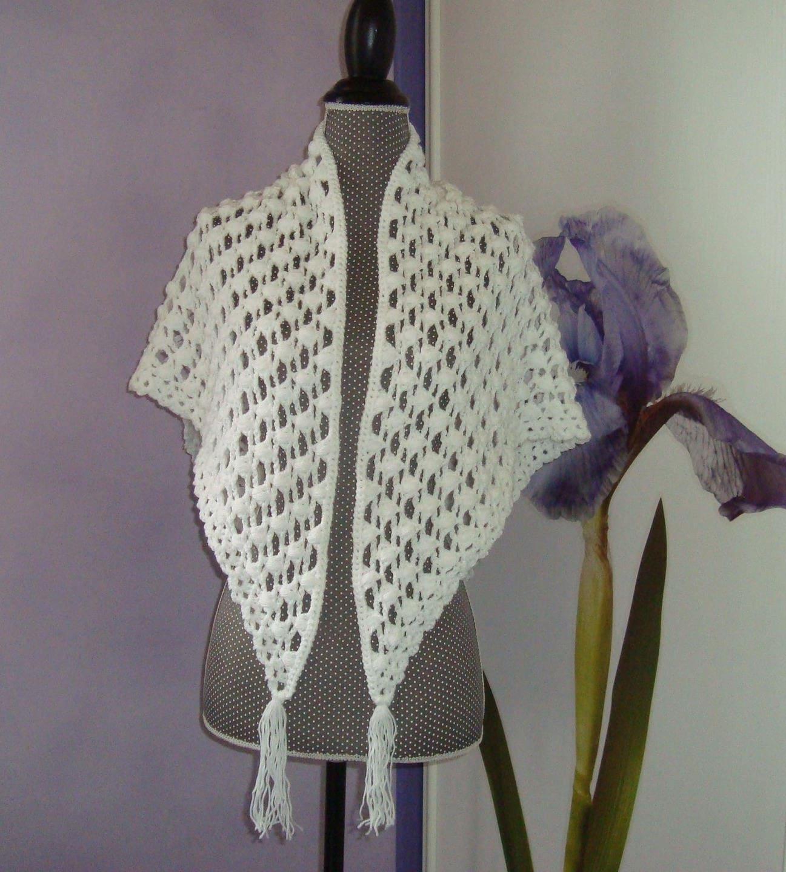 Ch le blanc chauffe paules echarpe etole laine crochet - Chale blanc mariage ...