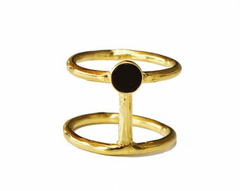 SALE - onyx ring, stacking rings, gold onyx ring, gemstone ring, black onyx ring , gold double ring, onyx jewelry