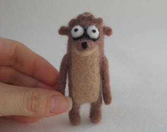 Rigby from Regular Show. Needle Felted Rigby Miniature.