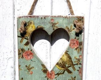 Shabby Chic Heart Decoupage Bird and Blossom Handmade Reclaimed Wood Key Rack Holder Hooks