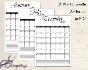 2018 Calendar, Printable Calendar 2018, Printable Monthly Calendar, Calendar Pages, Portrait Calendar, Calender 2018, Instant Download