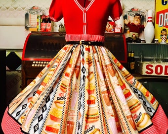 50s diner style print pinup skirt!