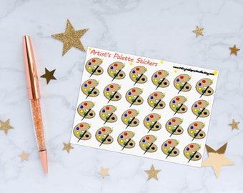 Artist's Paint Palette Planner Sticker, Artist Stickers, Paint Supplies Stickers, Vinyl Stickers