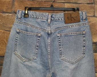 Vintage Calvin Klein Jeans  High Waisted Denim  Women's Size 14 Petite (Compares to 10 or 12)  Stonewash  Made in USA