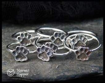 Size 5 ready to ship! Paw print sterling silver ring, cat paw ring, dog paw ring, bear paw ring. 208