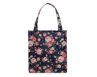 Oilcloth lunch bag for women - Small Reusable bag - Oil cloth lunch bag for kids- Ladies toiletry bag- small bag- Waterproof bag- rose