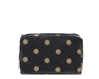 Small Makeup bag - Oilcloth zip pouch - Oil cloth Cosmetic case - Beauty pouch - Makeup organizer - Ladies Beauty case - polka dot