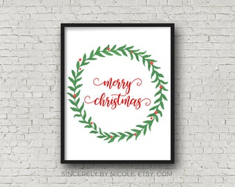 Merry Christmas Christmas Print PRINTABLE Christmas Happy Holidays Holiday Printable Merry Christmas Sign Christmas Party Christmas Decor