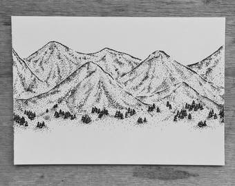 Mountainscape Print A5