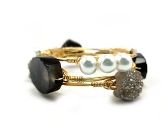 Druzy bangle-black stone bangle-pearl bracelet-Bourbon and Bowties inspired bangle bracelet stack-designer bangle-ladies bangle bracelet set