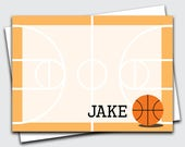 Personalized Boys Stationery / Basketball Note Cards / Sports Thank You Notes for Kids / Blank Notecards / Custom Stationary (1702-012FL)