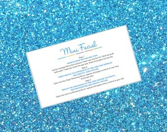 12 DIY Rodan and Fields Mini Facial Printable instruction cards. 2x3.5 Ready to Print Give it a Glow Business card