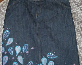 woman's jeans skirt hand made painted unique - one exemplar