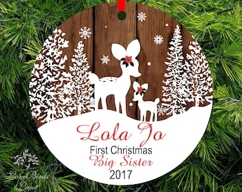 2017 Christmas Ornament Big Sister Little Sister Personalized First Christmas as Big sister Fawn Ornament Big Sister Gift