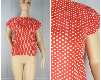 Vintage Womens Red and White Polka Dot Boxy Short Sleeve Top with Pockets | Size M/L
