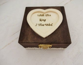 with this ring i thee wed wedding ring holder rustic ring box ring - With This Ring I Thee Wed