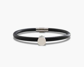 Tiny Ring and Leather Cord Bracelet - Circle
