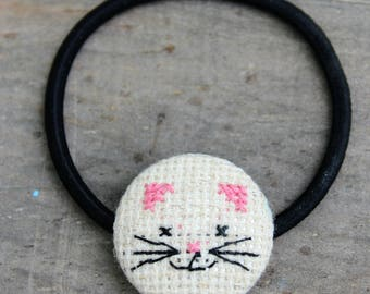 Cat Button Hair Ties - Set Of Two - Kitty Hair Elastics - Kitty Ponytail Holders - Hair Accessories for Girs -  Kitty Elastics -Gift for Her