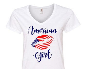 4th of July Shirt Women, American Girl Shirt, American Flag Clothing, Stars and Stripes Tee, Patriotic Tee, Stars and Stripes Tank