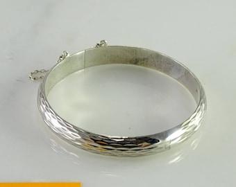 Textured Hinged Bangle Bracelet Sterling