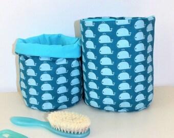 """Whales"" baby blue storage baskets"