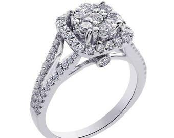 ON SALE 1.25 Carat G-Si1 Round Cut Cluster Split Shank Diamond Engagement Ring 14K