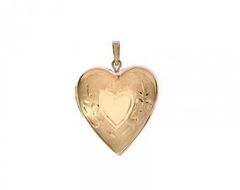 14k Yellow Gold Engraved Heart Romantic Love Locket Charm