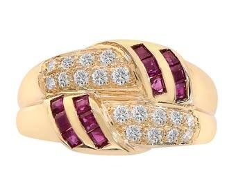 0.35 Carat Ruby & 0.45 Carat Diamond Ring 14K Yellow Gold