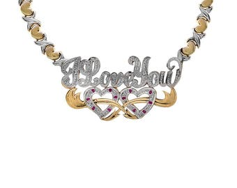 0.04 Carat Diamond Accent Hearts & Kisses Chain I Love you Necklace 14K Two Tone Gold