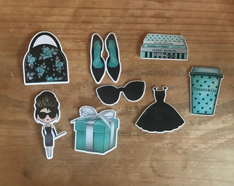 Breakfast at Tiffany's die cuts. Use these vibrant die cuts to decorate a planner, travelers notebook, scrapbook or party. Ephemera