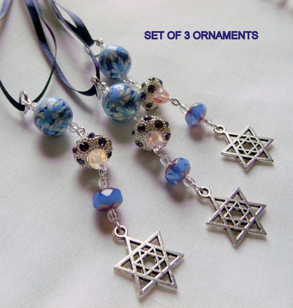 Star of David  charm ornaments - blue polymer clay bead- crystal charm gift - Hanukkah - dark blue ribbon - festive home decor - set of 3