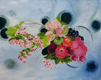 """Original hand painted oil painting -Abstract and flowers- made by Sarmite Alksne size 24""""x36"""""""