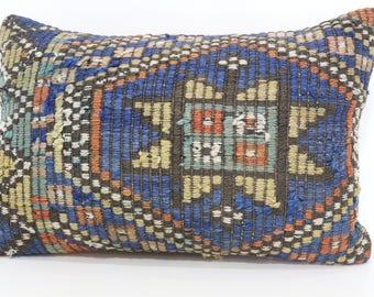 16x24 Decorative Kilim Pillow Turkish Pillow 16x24 Geometric Blue Kilim Pillow Floor Pillow Turkish Kilim Pillow Ethnic Pillow SP4060-565