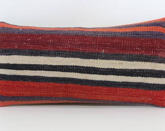 Striped Kilim Pillow Boho Pillow Throw Pillow Turkish Kilim Pillow 12x24 Lumbar Kilim Pillow Boho Pillow Cushion Cover  SP3060-916