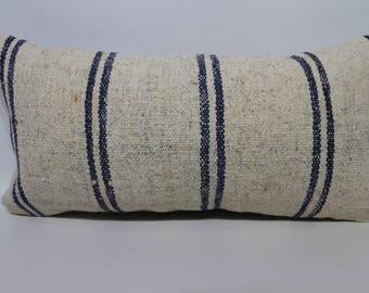 Anatolian Striped Kilim Pillow Sofa Pillow 12x24 White Kilim Pillow Blue Striped Lumbar Kilim Pillow Ethnic Pillow Cushion Cover SP3060-1264
