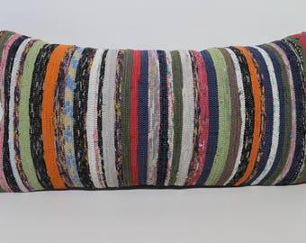 Bohemian Kilim Pillow Striped Kilim Pillow Anatolian Turkish Kilim Pillow 12x24 Lumbar Kilim Pillow Ethnic Pillow Cushion Cover SP3060-1419