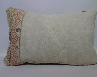 Lumbar Pillow Kilim Pillow 16x24 White Kilim Pillow Turkish Kilim Pillow  Bedroom Kilim Pillow Decorative Kilim Pillow SP4060-856
