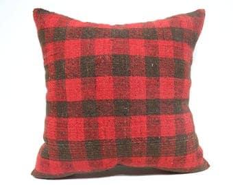 24x24 Handwoven Kilim Pillow Throw Pillow 24x24 Decorative Kilim Pillow Black And Red Striped Kilim Pillow Boho Pillow Cushions SP6060-1469