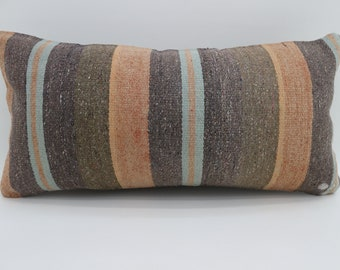 12x24 Striped Kilim Pillow Multicolor Kilim Pillow  12x24 Lumbar Pillow Blue and Brown Kilim Pillow Throw Pillow Cushion Cover SP3060-1766