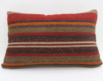 16x24 Kilim Pillow Covers Striped Kilim Pillow 16x24 Kilim Pillow Multicolor Kilim Pillow Gray and Orange Pillow Throw Pillow SP4060-1410